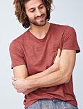 T-shirt 100% lin bio pour homme Rosso
