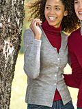 Cardigan 70% laine bio 30% soie naturelle coloris Gris chiné
