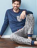 Pyjama 100% coton bio Homme Velo bleu
